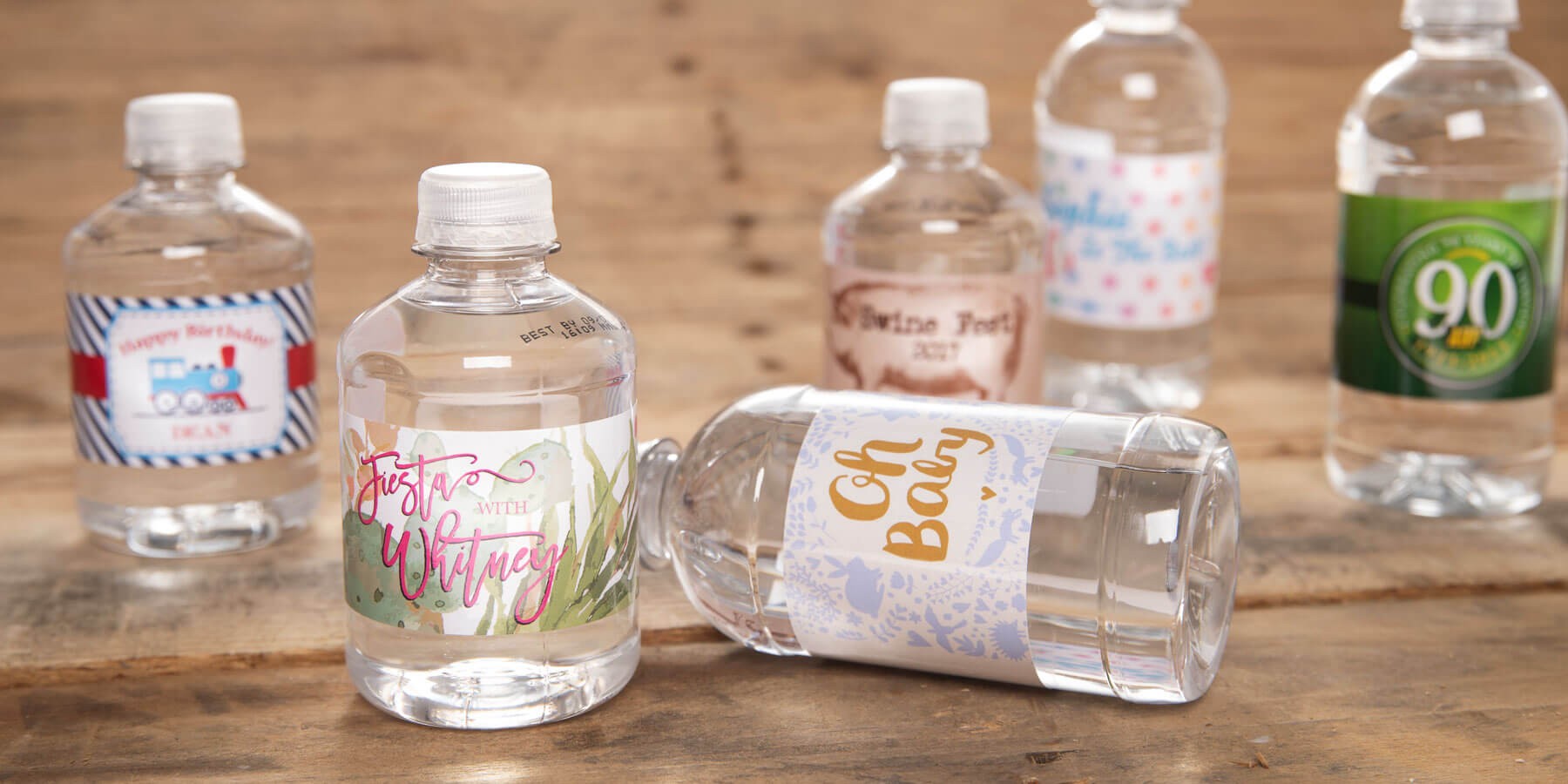 Water bottles with custom labels for special events.