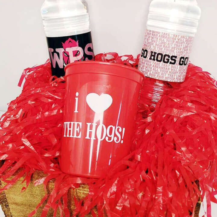 Custom bottled water and plastic cup for the University of Arkansas